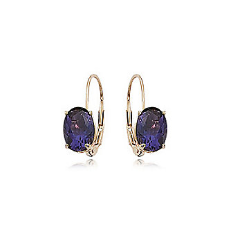 14k yellow gold oval amethyst hinged earrings