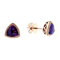 14k_rose_gold_checkerboard_trillion_amethyst_milgrain_bezel_set_post_earrings