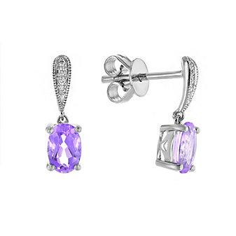 14k white gold oval amethyst & diamond milgrain drop earrings