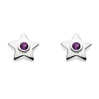 sterling silver round amethyst bezel set star stud earrings
