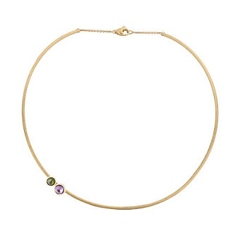 Marco Bicego 18K Yellow Gold Jaipur Round Amethyst & Green Tourmaline Collar Necklace