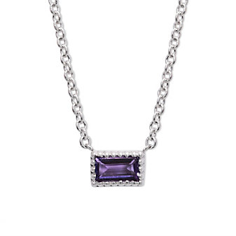 My Story 14K White Gold Baguette Amethyst Necklace