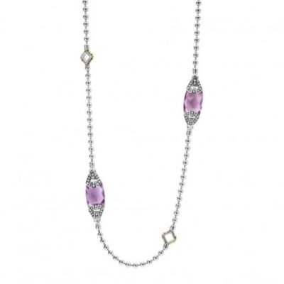 """lagos sterling silver & 18k yellow gold caviar color amethyst station necklace, 34"""""""