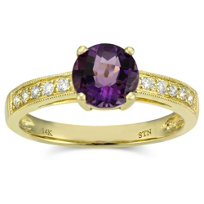 14K_Yellow_Gold_Round_Checkerboard_Amethyst_and_Round_Diamond_Ring