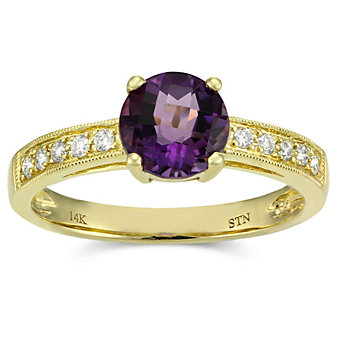 14K Yellow Gold Round Checkerboard Amethyst and Round Diamond Ring