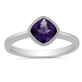 14K White Gold Cushion Checkerboard Amethyst Ring, 6mm