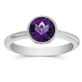 14K White Gold Round Checkerboard Amethyst Ring