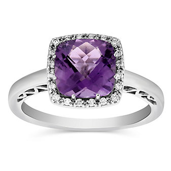 14K White Gold Checkerboard Cushion Amethyst and Diamond Ring