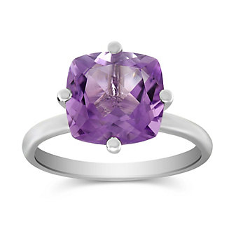14K White Gold Cushion Amethyst Ring