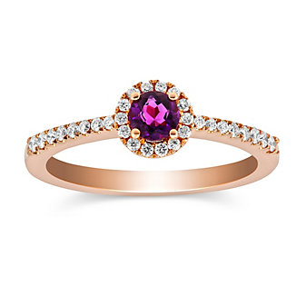14K Rose Gold Amethyst and Round Diamond Halo Ring
