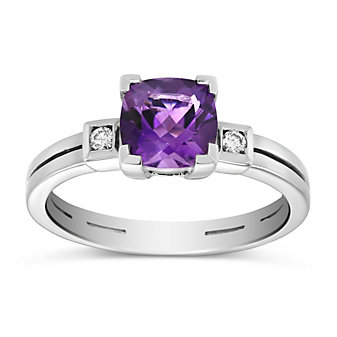 14K White Gold Checkerboard Cushion Amethyst and Round Diamond Ring