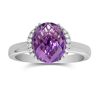 14K White Gold Oval Checkerboard Amethyst and Round Diamond Ring