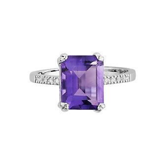 14K White Gold Emerald-Cut Amethyst & Diamond Ring, 0.05cttw