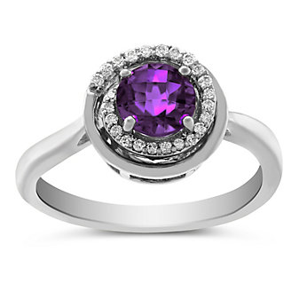14K White Gold Round Checkerboard Amethyst & Diamond Ring