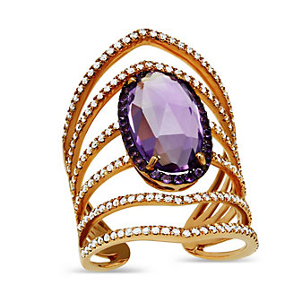 14K Rose Gold Oval Checkerboard Faceted Amethyst and Round Diamond Ring