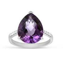 14K_White_Gold_Pear_Shape_Amethyst_and_Round_Diamond_Ring