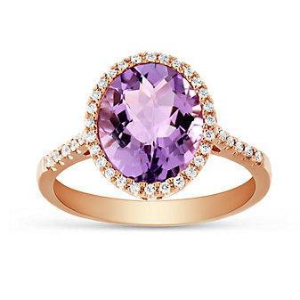 14K Rose Gold Checkerboard Oval Amethyst and Round Diamond Ring