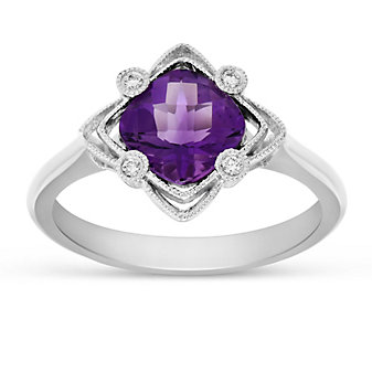 14K White Gold Cushion Amethyst and Round Diamond Filigree Ring