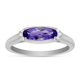 14K White Gold Oval Amethyst and Round Diamond East West Ring