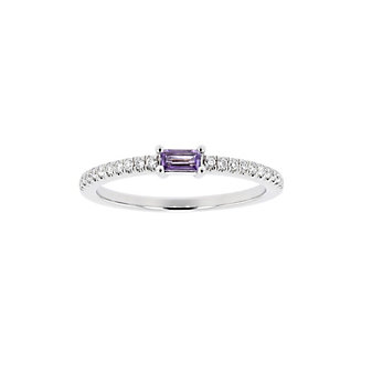 14K White Gold Baguette Amethyst and Round Diamond Ring