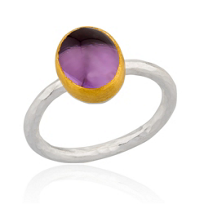 24K_Yellow_Gold_and_Sterling_Silver_Oval_Cabochon_Amethyst_Bezel_Set_Ring