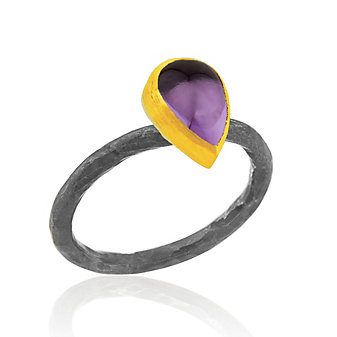 Lika Behar 24K Yellow Gold and Sterling Silver Pear Shaped Cabochon Amethyst Bezel Set Ring