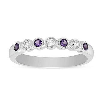 14K White Gold Round Amethyst and Round Diamond Bezel Set Milgrain Ring