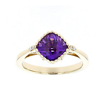 14k yellow gold cushion checkerboard amethyst and diamond ring with beaded bezel