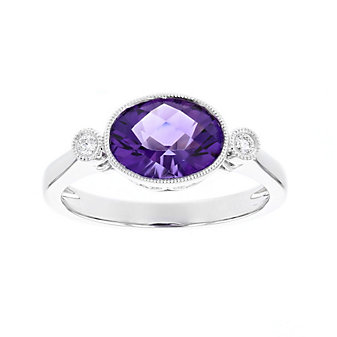 14k white gold oval checkerboard amethyst and diamond milgrain ring