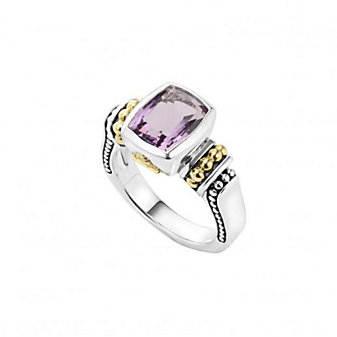 lagos sterling silver & 18k yellow gold caviar color amethyst ring