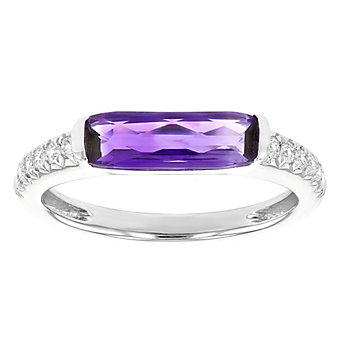 14k white gold checkerboard elongated cushion amethyst & diamond ring