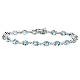 14K White Gold Oval Aquamarine and Diamond Bracelet