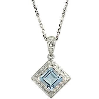 14K Aquamarine and Diamond Pendant