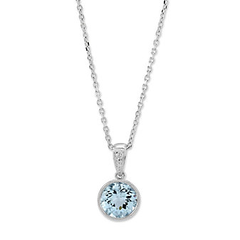 14K White Gold Checkerboard Round Aquamarine Bezel Set Pendant, 7mm