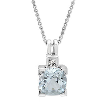14K White Gold Cushion Aquamarine and Diamond Pendant