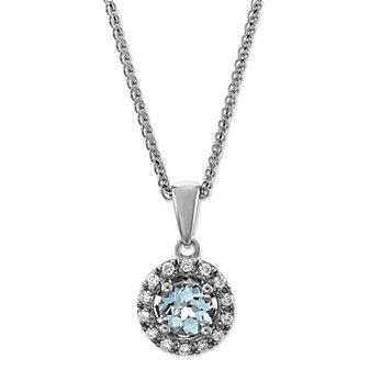 14K White Gold Aquamarine and Diamond Halo Pendant