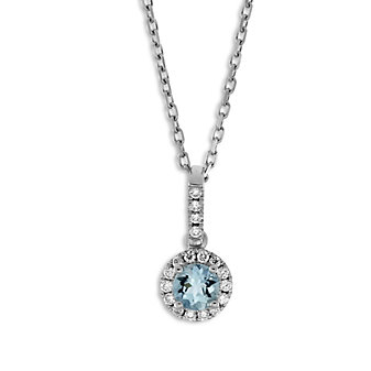 14K White Gold Aquamarine and Round Diamond Halo Pendant