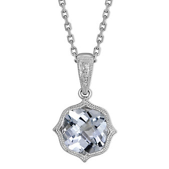 14K White Gold Cushion Checkerboard Aquamarine With Milgrain Bezel Pendant