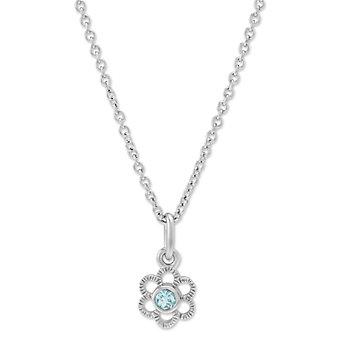 Sterling Silver Children's Aquamarine Flower Pendant