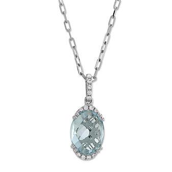 14K White Gold Oval Checkerboard Aquamarine and Diamond Pendant