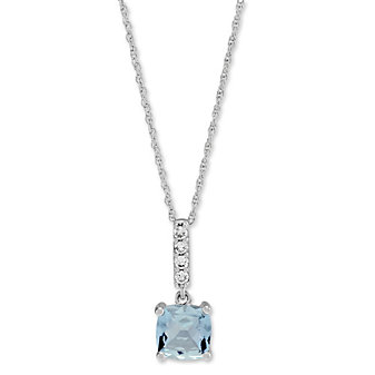 14K White Gold Cushion Aquamarine and Round Diamond Pendant