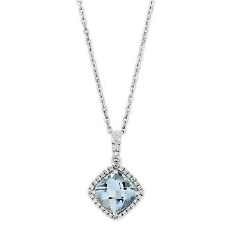 14K White Gold Checkerboard Aquamarine and Diamond Halo Pendant