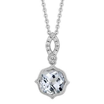 14K White Gold Checkerboard Cushion Aquamarine and Round Diamond Pendant