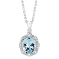 14K_White_Gold_Cushion_Aquamarine_and_Round_Diamond_Halo_Pendant,_18""