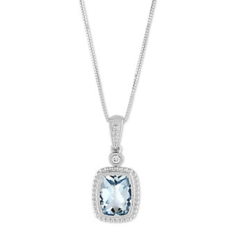14K White Gold Checkerboard Aquamarine and Diamond Pendant
