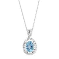18K_White_Gold_Oval_Aquamarine_&_Round_Diamond_Pendant
