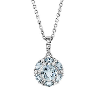 14K White Gold Round/Oval Aquamarine & Diamond Circle Pendant, 18""