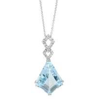 14K_White_Gold_Kite_Shaped_Aquamarine_and_Diamond_Pendant,_18""