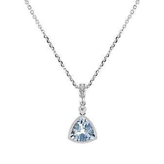 """14k white gold checkerboard trillion aquamarine & diamond milgrain bezel pendant, 18"""""""