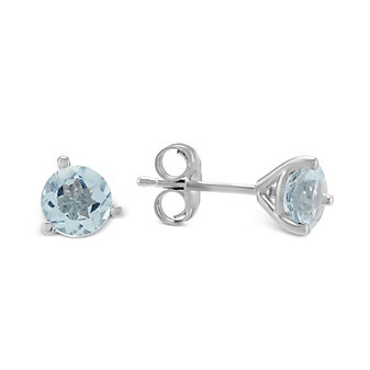 14K White Gold Round Faceted Aquamarine Stud Earrings, 5mm